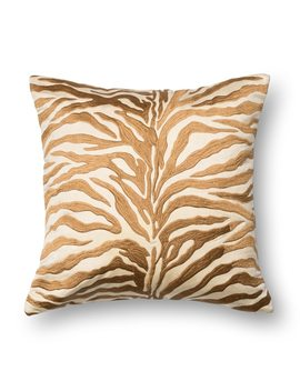 Zebra Modern Safari Bronze Embroidered Throw Pillow Or Pillow Cover 18 X 18 by Alexander Home
