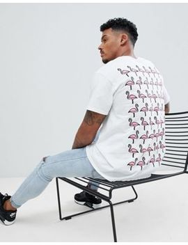 New Love Club Flamingo Repeat Back Print T Shirt by New Love Club