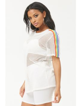 Rainbow Stripe Mesh Tee by Forever 21
