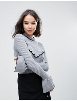 Soaked In Luxury High Neck Jumper With Frill Detail by Jumper
