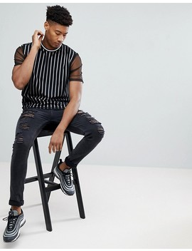 Asos Tall Relaxed Vertical Stripe T Shirt With Mesh Double Layer by Asos
