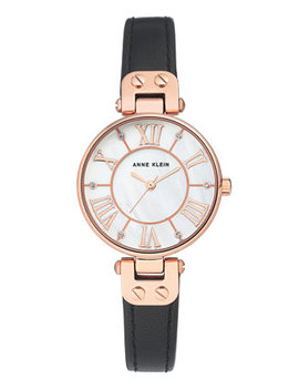 Women's Black Leather Strap Watch 30mm by Anne Klein