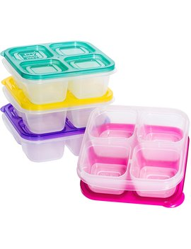 Easy Lunchboxes Elb5 Snack Snack Box Food Containers, 4 Compartment, Set Of 4, Bright by Easy Lunchboxes