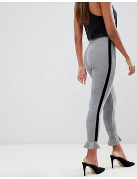 Asos Design Check Leggings With Ruffle Hem And Velvet Side Tape by Asos Design