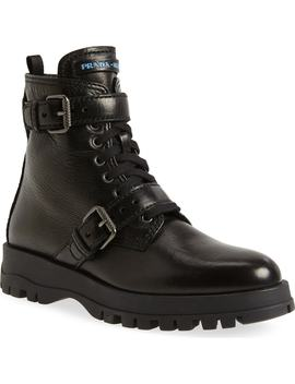 Buckle Combat Boots by Prada