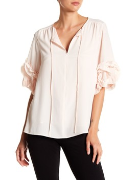 Ruffle Sleeve Split Neck Blouse by Vince Camuto