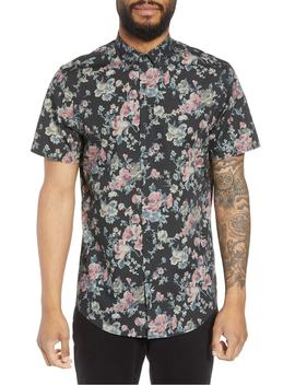 Trim Fit Floral Short Sleeve Sport Shirt by Calibrate