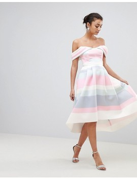 Asos Tall Bardot Cold Shoulder Dip Back Pastel Stripe Prom Dress by Asos Tall