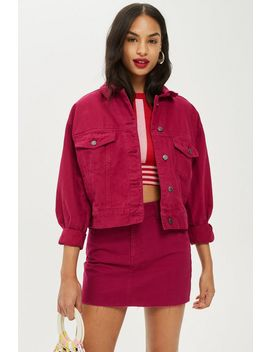 Petite Raspberry Denim Jacket And Skirt Set by Topshop