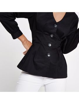 Black V Neck Button Front Blouse by River Island