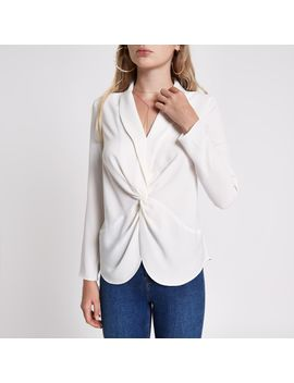 Cream Twist Front Long Sleeve Blouse by River Island