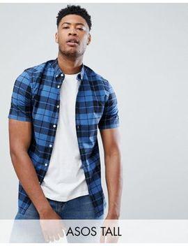 Asos Design – Tall – Enges, Kariertes Hemd In Blau by Asos Design