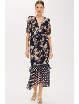 **Floral And Polka Dot Shift Dress By Hope & Ivy by Topshop