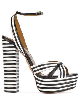 Striped Sundance 140 Platform Sandals by Aquazzura