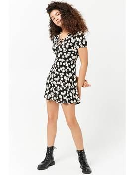 Daisy Print Split Neck Dress by Forever 21
