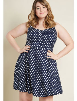 Retro Glow Pinup A Line Dress In Dotted Navy by Modcloth