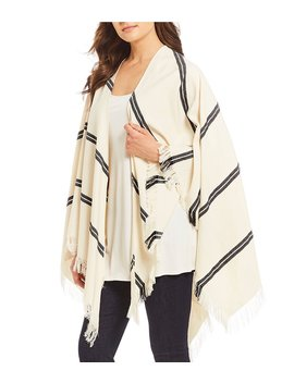 Organic Cotton Double Stripe Poncho by Generic
