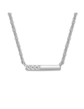 Mini Bar Necklace Lab Created White Sapphires Sterling Silver by Kay Jewelers