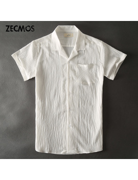 Zecmos Hawaiian White Casual Shirts Men Linen Short Sleeve Shirt Male Blouse by Zecmos