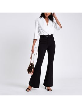 Black Ponte Flare Belted Trousers by River Island