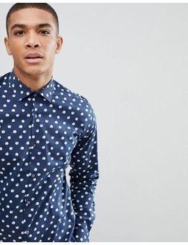 Moss London – Sehr Schmales, Elegantes Hemd In Marineblau Mit Punkten by Moss London