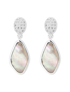 Simply Silver   Sterling Silver Pave Mother Of Pearl Drop Earrings by Simply Silver