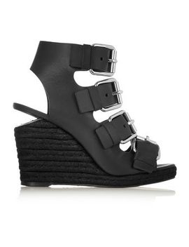 Jo Buckled Leather Espadrille Wedge Sandals by Alexander Wang