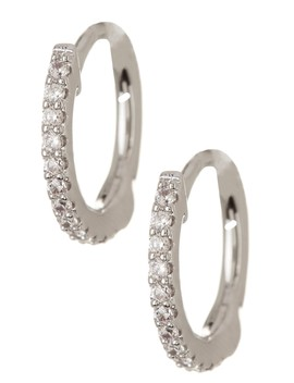 Petite Simulated Pave Diamond  Hoop Earrings by La Fonn