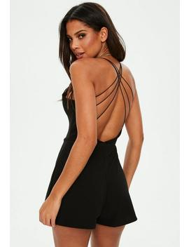Black Strappy Back V Front Playsuit by Missguided