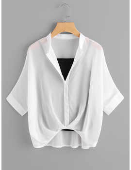 Batwing Sleeve Chiffon Blouse With Cami Top by Romwe