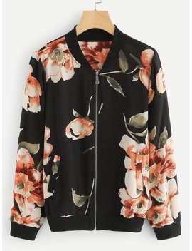 Floral Print Zip Up Jacket by Romwe