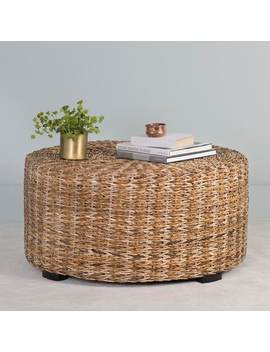 East At Main's Langdon Brown Round Abaca Coffee Table by East At Main
