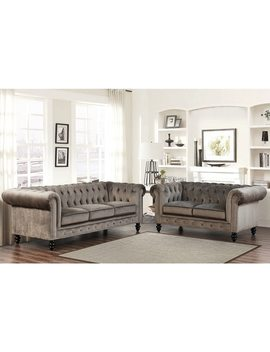 Abbyson Grand Chesterfield Grey Velvet 2 Piece Living Room Set by Abbyson