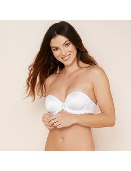 The Collection   White Shine Lace Underwired Padded Strapless Push Up Bra by The Collection