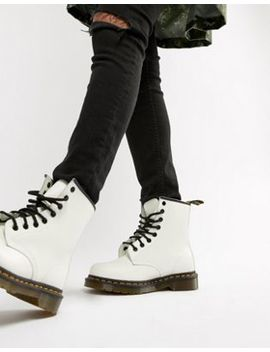 Dr Martens 1460 White Leather Flat Ankle Boots by Dr Martens