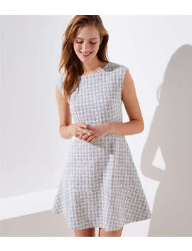 Petite Checked Jacquard Flare Dress by Loft