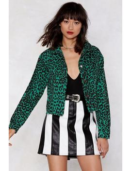 The Here And Meow Leopard Denim Jacket by Nasty Gal