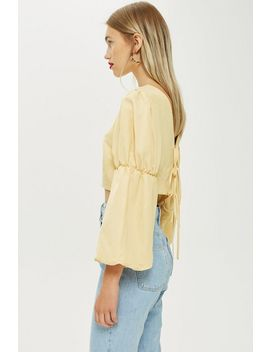 Tie Back Balloon Sleeve Blouse by Topshop