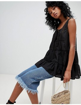 Asos Design Smock Top With Broderie Trim by Asos Design