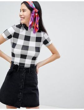 Monki Check High Neck Tee by Monki