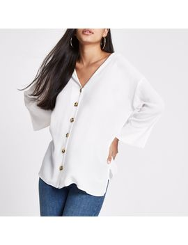 White Button Front Bar Back Blouse by River Island