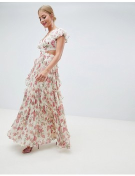 Asos Design Pleated Ruffle Maxi Dress With Cut Out In Floral Print by Asos Design