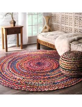 The Curated Nomad Grove Handmade Braided Multicolor Area Rug (6' Round) by The Curated Nomad