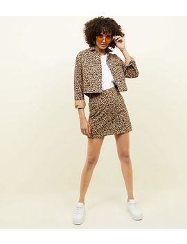 Tan Leopard Print Denim Mini Skirt by New Look