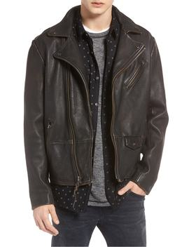 Trim Fit Leather Biker Jacket by Treasure & Bond