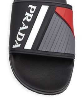 Logo Rubber Slides by Prada