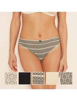 The Collection   5 Pack Cotton Blend High Leg Knickers by The Collection