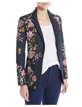 Macey Embroidered Notch Collar Blazer by Alice + Olivia