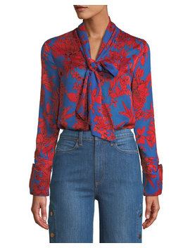 Gwenda Tie Neck Cropped Blouse by Alice + Olivia
