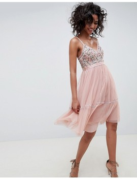 Needle & Thread Embellished Tulle Midi Dress With Cami Straps In Vintage Rose by Needle & Thread